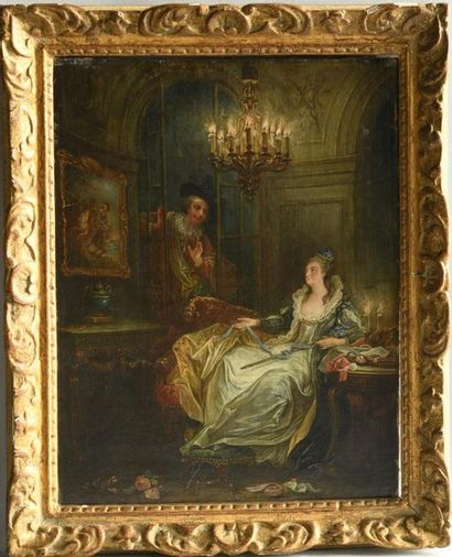 Attributed to françois GUERIN (born before 1751 - died after 1791) Chivalrous scene Web Height:...