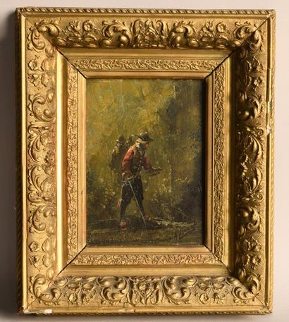 Georges APPERT (1850-1934) Two panels forming a pendant: - Musketeers, pursuit in...