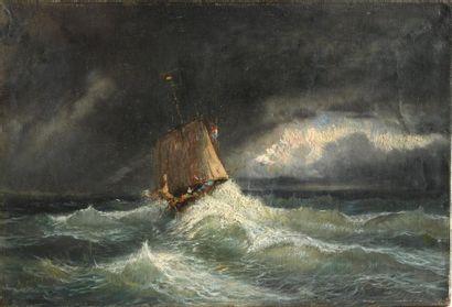 Alfred GODCHAUX (1835-1895). Barque dans...