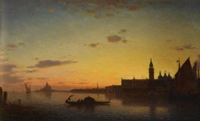 Amédée ROSIER (1831-1898). Vue de Venise. Huile...