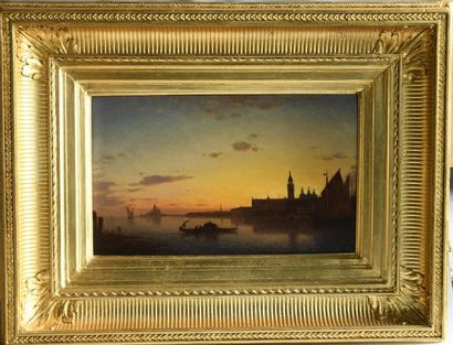 Amédée ROSIER (1831-1898). View of Venice. Oil on panel signed lower left. 24x41...
