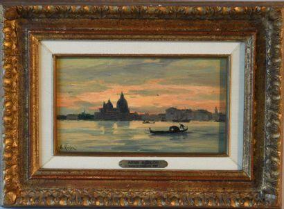 Antony Paul Emile MORLON (c.1845-1905). Venice at dusk. Oil on panel signed lower...