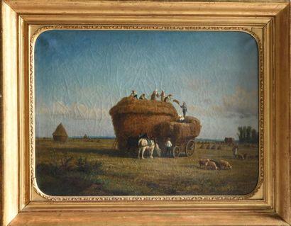 HUBER (XIXe). Les moissons. Huile sur toile...