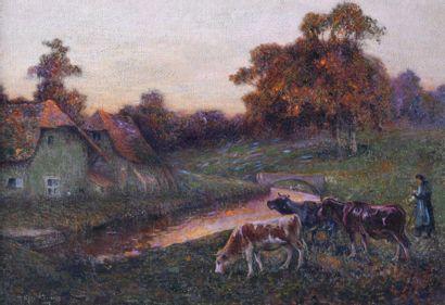 Michel KOROCHANSKY (1866-1925). Vaches en...