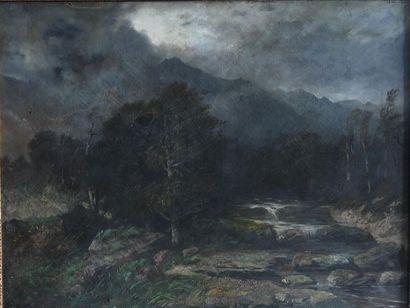 Ecole française XIXe. Paysage à la rivière....