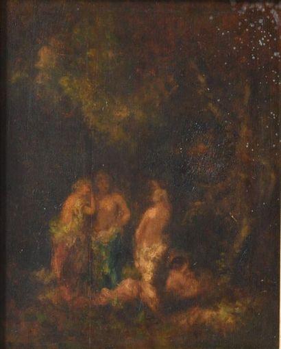 Ecole française XIXe. Trois femmes au bain....