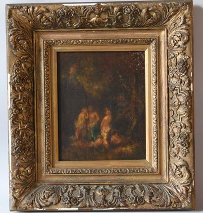 French school XIXth. Three women at the bath. Oil on panel. (Moisture stains) Carved...