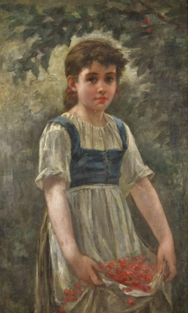 Édouard D'APVRIL (1843-1928) Attributed to. Young girl picking cherries. Oil on...