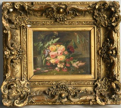 Jean-Pierre LAYS (1825-1887). Composition with flowers in front of a fountain. Oil...