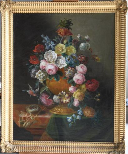French school end of the 19th century. Large still life with a bouquet of flowers...