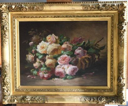 Roger GODCHAUX (1878-1958). Still life with a basket of roses. Oil on canvas, signed...