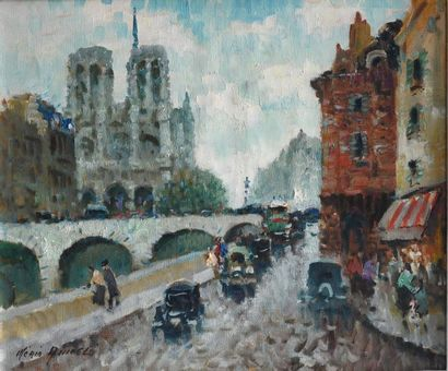 Merio Ameglio (1897-1970). Vue de Notre Dame...