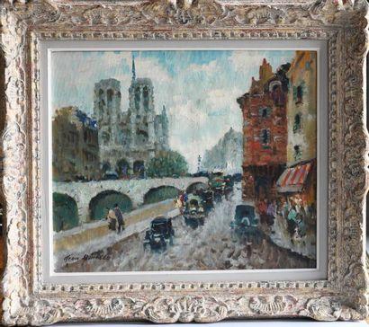 Merio Ameglio (1897-1970). View of Notre Dame and the Saint Michael Bridge. Oil...