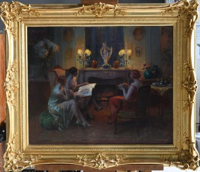 Delphin ENJOLRAS (1857-1945). Reading by the fire. Oil on canvas signed lower left....