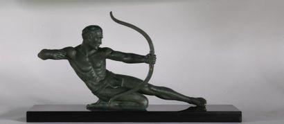 Ecole du XXe. Archer. Epreuve en bronze à...