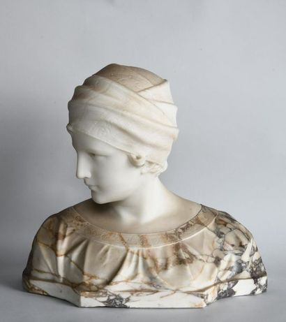 Guglielmo PUGI (c.1850-1915). Female bust with turban in veined marble and alabaster....