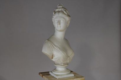 According to HOUDON. Bust of Diana the Huntress in white marble. A marble onyx saddle...
