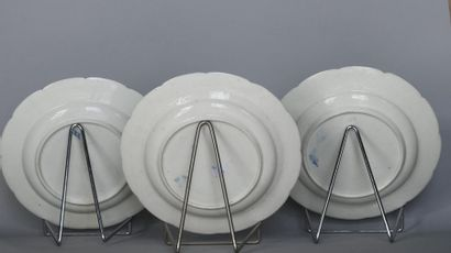 Chantilly 18th. Set of three plates with fretworked edges, in soft porcelain with...