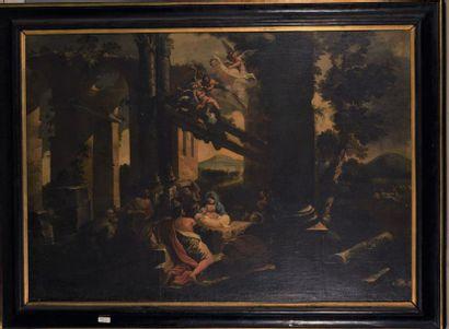 Ecole ROMAINE vers 1700 Nativité dans un...