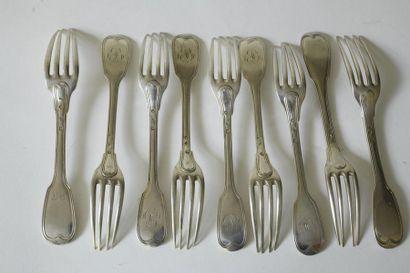 Neuf fourchettes en argent XIXe, modèles...