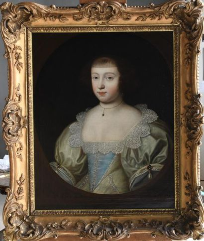 English school circa 1640, surrounded by Gilbert JACKSON Portrait of a lady.  Canvas,...