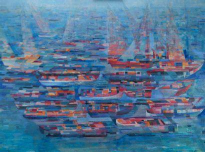 Frédérique GIUSTI (Née en 1925). Marines - bateaux. Huile sur toile, signée en bas...