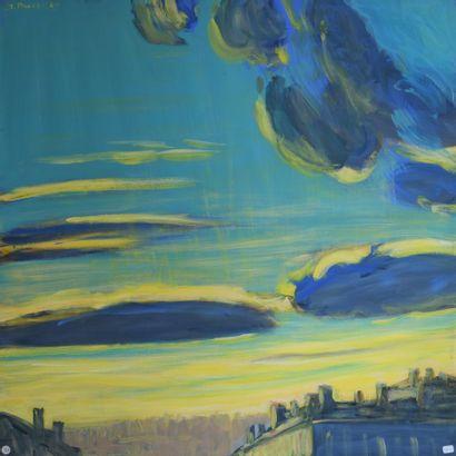 Jacques PONCET (1921-2012). Lyon, la Croix-Rousse. 2000 (Série Lyon) Acrylique...