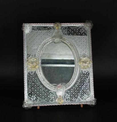 Miroir de table en verre vénitien. Première...