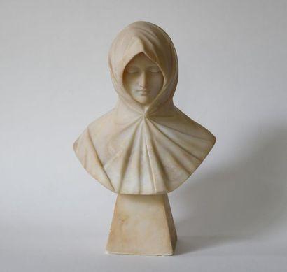 Portrait de femme au voile. Sculpture en...