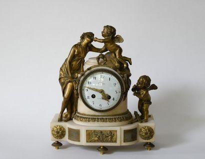 Pendule borne en bronze et albâtre à décor...