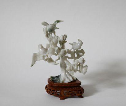 Chine XXe. Oiseaux sur des branches fleuries....