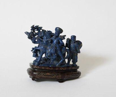 Chine XXe. Soldat sur son cheval. Sujet en...