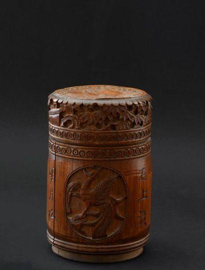 Chine XXe. Pot couvert en bambou à décor...