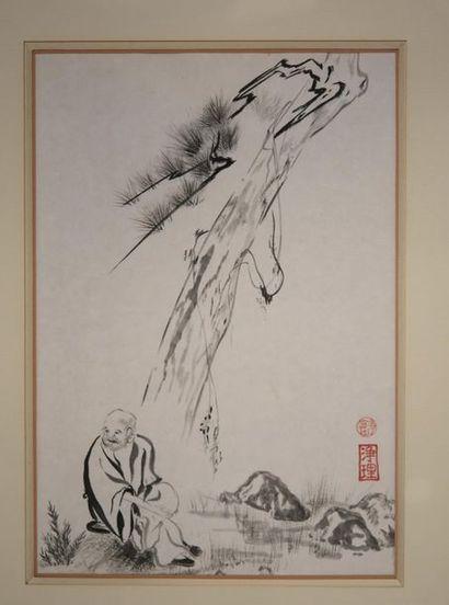 Chine XXe. Peinture à l'encre sur papier...