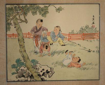 Chine XXe. Peinture à l'encre et couleur...