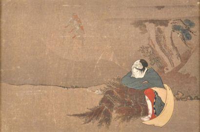 Japon, Femme endormie sur des fagots de bois....