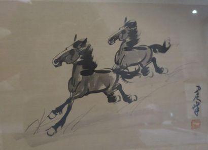 Chine XXe. Peinture à l'encre sur soie représentant...