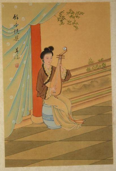 Chine XXe. Deux peintures à l'encre et couleur...