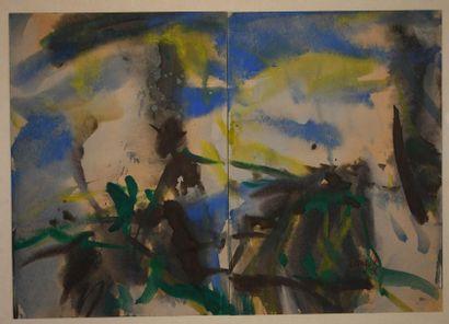 T'ang Haywen (1927-1991) Diptyque à l'encre...