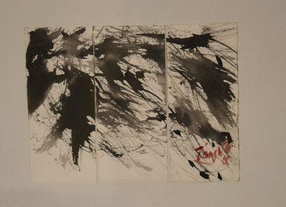 T'ang Haywen (1927-1991) Triptyque à l'encre...