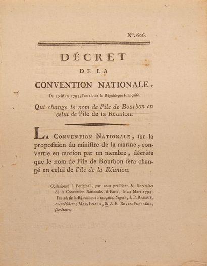 LA REUNION. Décret de la Convention Nationale...