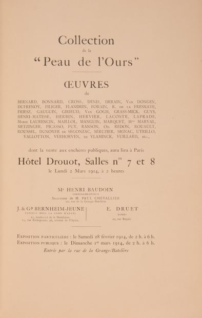 COLLECTION DE LA « PEAU DE L'OURS ». Oeuvres...