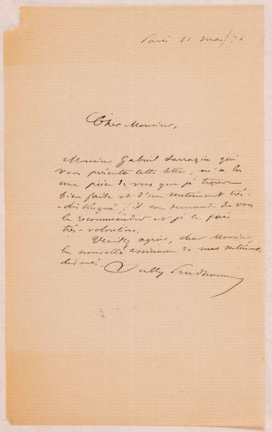 SULLY-PRUDHOMME. Lettre autographe signée....