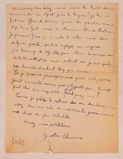 CHAISSAC (Gaston). Lettre autographe signée,...