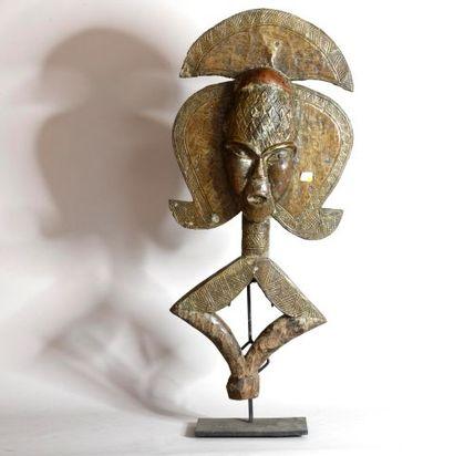 GABON  Grande figure de reliquaire en bois,...