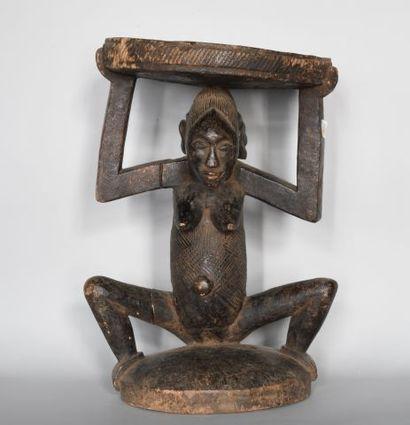 CONGO  Tabouret à caryatide en bois sculpté...
