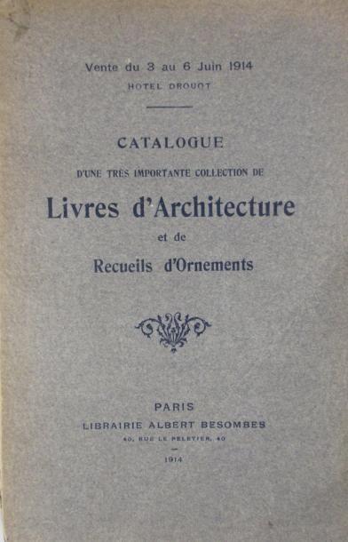 Catalogue d'une très importante collection de livres d'architecture et de...