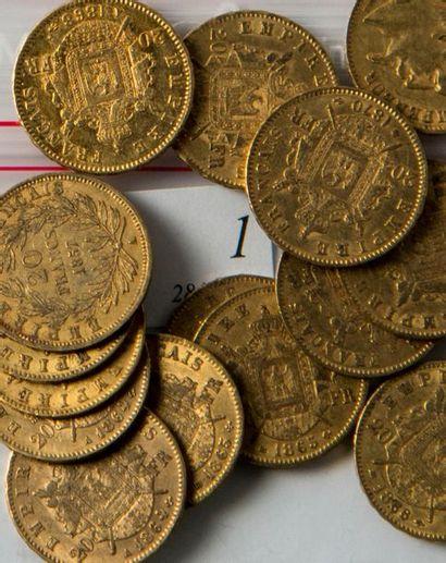 Dix-sept pièces or 20 FF Napoléon II lauré...