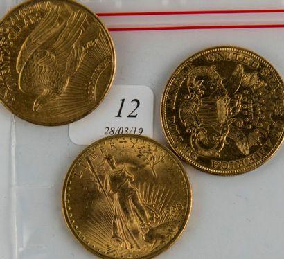Trois pièces or 20 $ USA de 1908-1924-19...