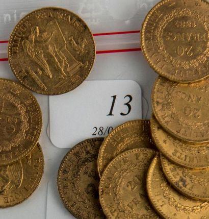 Onze pièces or 20 FF de 1877-1874-1892-1...